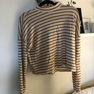 Striped Mock Neck Cropped Sweater